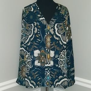 H&M Printed V-Neck Long Sleeve Button Down Blouse